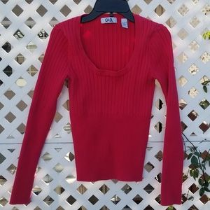 Sweaters - Red ribbed sweater